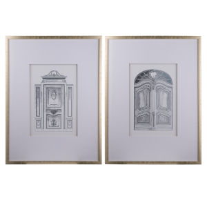 Silver Faux Pencil Architectural Wall Art, Set of 2