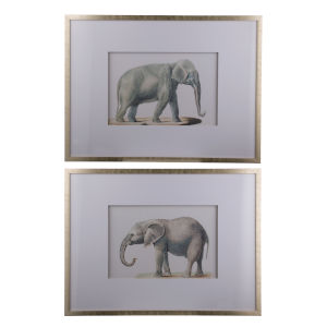 Silver Faux Elephant Pencil Drawing Wall Art, Set of 2