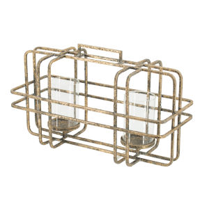 Rustic Gold and Clear Caged Two Glass Hurricane Candle Holder