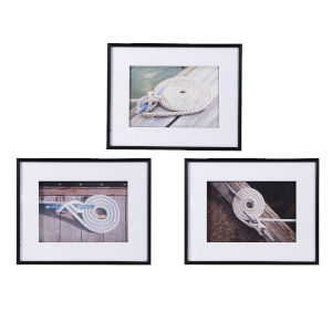 Multicolor Framed Boater Knot Wall Art, Set of 3