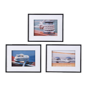 Multicolor Framed Nautical Boater Knot Wall Art, Set of 3