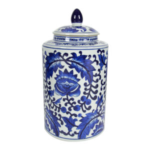 Aline Blue and White Round Jar with Lid