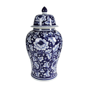 Aline Blue and White 10-Inch Ginger Jar with Lid