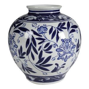 Aline Gloss Blue and White 9-Inch Vase