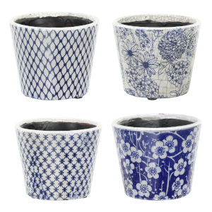 Terracotta Blue and White 8-Inch Planter, Set of 4