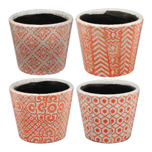 Terracotta Orange and White Planter, Set of 4