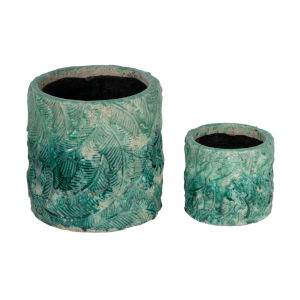 Crackled Teal 11-Inch Vase ,Set of 2