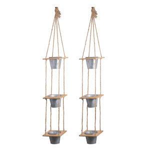 Shelburne Gray And Natural Three-Tier Hanging Planter, Set of 2