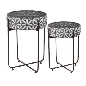 Gray and White Planter on Tall Stand, Set of 2
