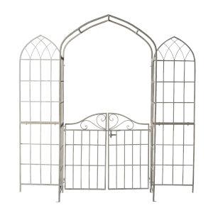 White Jardine Garden Arch Trellise with Gate
