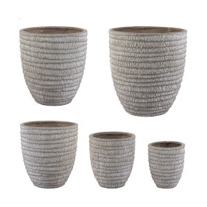 Beige Round Flower Pot ,Set of 5
