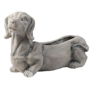 Gray Dog Outdoor Planter