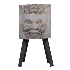 Gray and Black Greek God Smiling Statue Outdoor Planter