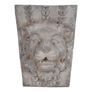 Gray Lions Head Outdoor Wall Decor