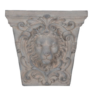 Gray 22-Inch Lions Head Outdoor Wall Decor
