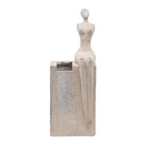 White Washed Seated Female Figurine Outdoor Planter Pot