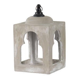 Garden Gray 16-Inch Square Candle Lantern