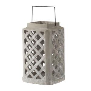 Garden Gray Square Candle Lantern