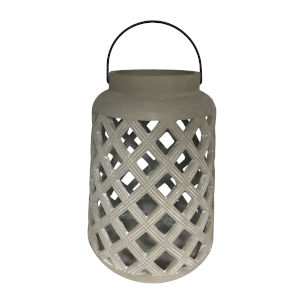 Garden Gray Cylindrical Candle Lantern