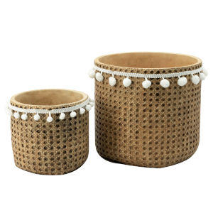 Natural and White Outdoor Planter Basket, Set of 2