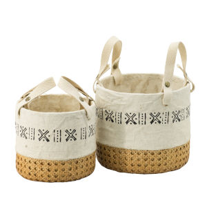 Natural and Black Round Outdoor Planter Basket, Set of 2