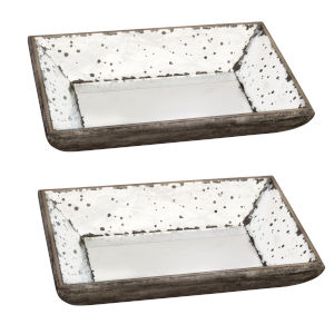 Mirrored Tray, Set of 2