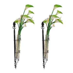 Wendell Black and Clear 29-Inch Wall Mounted Bud Vase, Set of 2