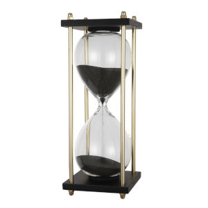 Black Sand Hour Glass in Stand