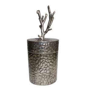 Antique Silver Lidded Jar With Branch Finial