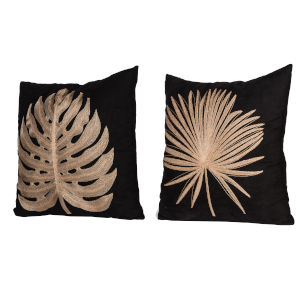 Black Embroidery Accent Pillow ,Set of 2