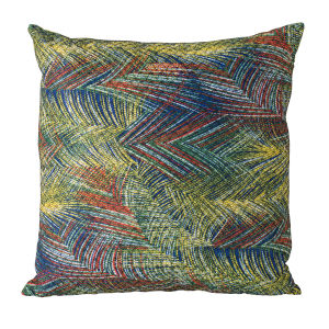 Multicolor Abstract Leaf Design Accent Pillow