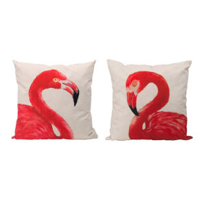 Pink and Off White Flamingo Accent Pillow, Set of 2