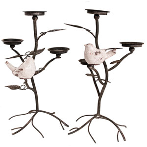 Black Metal 22-Inch Tall Candle Holder