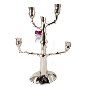 Silver 20-Inch Tall Candle Holder