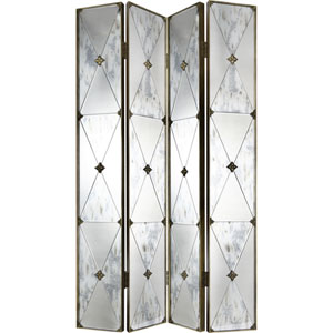 Antique Metal Four-Panel Mirrored Screen
