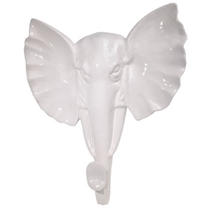 White Elephant Head Wall Sculpture