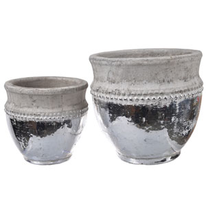 Natural Ceramic Pots, Set of 2