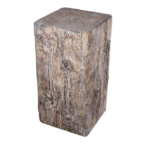 White Wash Faux Tree Outdoor End Table