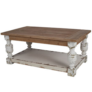 Alcott Antique White and Brown Coffee Table