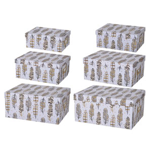Albany Storage Boxes with Feather Motif, Set of Six