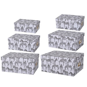 Albany Storage Boxes with Zebra Motif, Set of Six