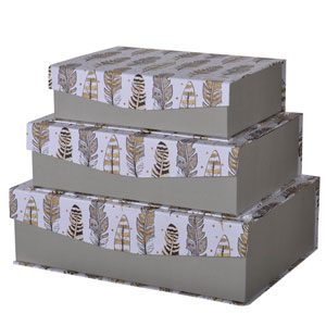 Albany Storage Box with Feather Motif, Set of Three