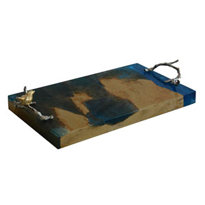 Blue and Brown Serving Tray with Handles and Birds