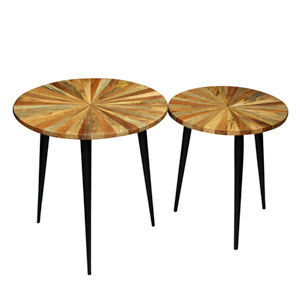 Brown and Black Round Side Tables, Set of Two