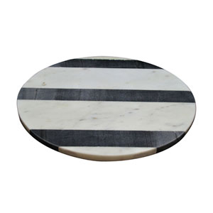 Black and White Round Marble Board