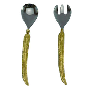 Silver and Gold Two-Piece Salad Server Set