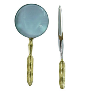 Silver and Gold Desk Letter Opener and Magnifier