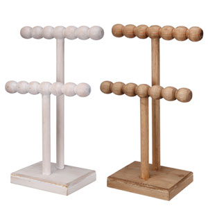 Brown and White Two-Tier Stands, Set of Two