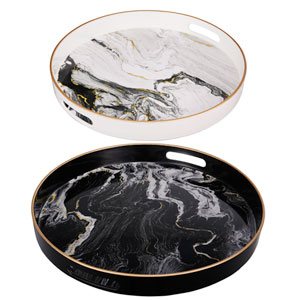 Black and White Marble Trays, Set of Two