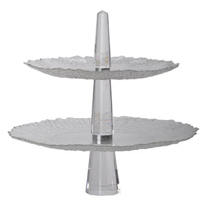 Clear Crystal Two-Tier Cake Stand